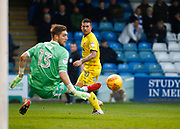 AFC Wimbledon's Cody McDonald  watches as Gillingham's 'keeper Tomas Holy makes a finger tip save during the EFL Sky Bet League 1 match between Gillingham and AFC Wimbledon at the MEMS Priestfield Stadium, Gillingham, England on 30 December 2017. Photo by John Marsh.