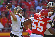KANSAS CITY, MO - OCTOBER 23:  Quarterback Drew Brees #9 of the New Orleans Saints throws a pass against the Kansas City Chiefs during the second half on October 23, 2016 at Arrowhead Stadium in Kansas City, Missouri.  (Photo by Peter Aiken/Getty Images) *** Local Caption *** Drew Brees