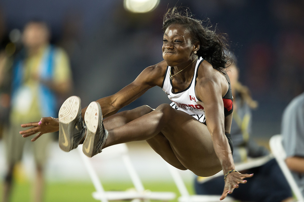 Christabel Nettey of Canada competes in the women's long jump at the 2015 Pan American Games at CIBC Athletics Stadium in Toronto, Canada, July 24,  2015.  AFP PHOTO/GEOFF ROBINS