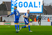 Goal - Alfie Kilgour (15) of Bristol Rovers celebrates scoring the equalising goal to make the score 1-1 during the EFL Sky Bet League 1 match between Bristol Rovers and Blackpool at the Memorial Stadium, Bristol, England on 15 February 2020.