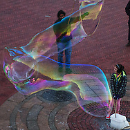 Bubble magic at Bethesda Terrace in Central Park, New York City.
