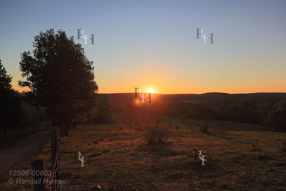 Sun rises, bathing pasture in golden light on an Ozark farm near Viburnum, Missouri.