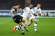 Owen Watkin of Ospreys kicks ahead during the European Rugby Challenge Cup match between Ospreys and ASM Clermont Auvergne at The Liberty Stadium, Swansea on 15 October 2017. Photo by Andrew Lewis.