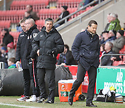 Swindon Town manager Mark Cooper disagrees with the officials decision during the Sky Bet League 1 match between Crewe Alexandra and Swindon Town at Alexandra Stadium, Crewe, England on 28 February 2015. Photo by Andrew Morfett.