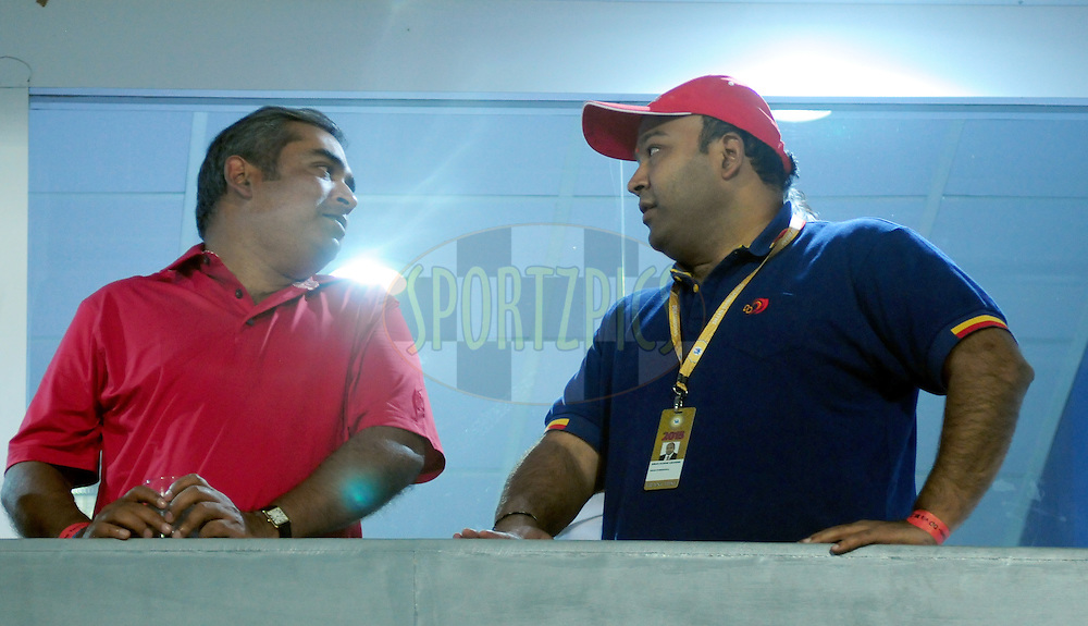 DD owner Kiran Kumar Grandhi (R)during match 21 of the Pepsi IPL 2015 (Indian Premier League) between The Delhi Daredevils and The Mumbai Indians held at the Ferozeshah Kotla stadium in Delhi, India on the 23rd April 2015.<br /> <br /> Photo by:  Arjun Panwar / SPORTZPICS / IPL