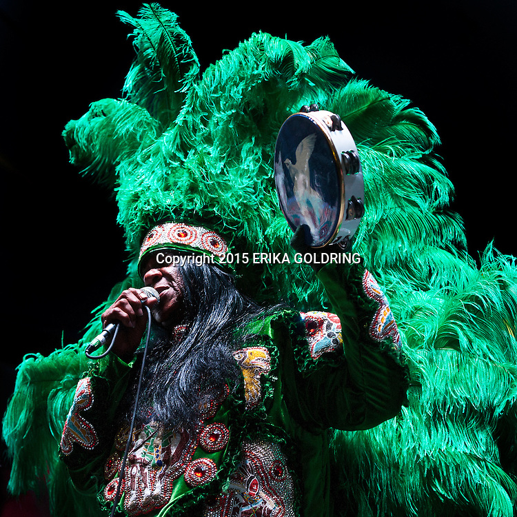 Big Chief Monk Boudreaux of the Golden Eagles Mardi Gras Indians performs at French Quarter Festival on April 10, 2015, in New Orleans, LA.