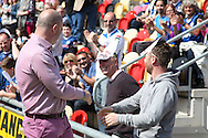 Rochdale manager Keith Hill greets supporters ahead of the match. Skybet football league two match, Newport county v Rochdale at Rodney Parade in Newport, South Wales on Saturday 3rd May 2014.<br /> pic by Mark Hawkins, Andrew Orchard sports photography.