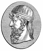 Plato (c428-c348 BC) Ancient Greek philosopher. Engraving after antique gem.