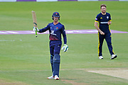 Keaton Jennings of Lancashire Raises his bat on reaching his half-century during the Royal London One Day Cup semi-final match between Hampshire County Cricket Club and Lancashire County Cricket Club at the Ageas Bowl, Southampton, United Kingdom on 12 May 2019.