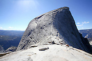 Climbing Half Dome rock at Yosemite national Park, California USA
