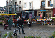 Rennes, FRANCE. General View GV. Rennes weekly regional market. Brittany,<br /> <br />  Stalls in the open and covered market  <br /> <br /> Saturday  26/04/2014 <br /> <br /> © Peter SPURRIER, <br /> <br /> NIKON CORPORATION  NIKON D700  f16  1/20sec  24mm  1.0MB