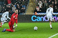 Football - 2018 / 2019 Sky Bet EFL Championship - Swansea City vs. Bolton Wanderers<br /> <br /> Remi Matthews of Bolton Wanderers on his knees as Oliver McBurnie of Swansea City celebrates scoring his team's second goal, at The Liberty Stadium.<br /> <br /> COLORSPORT/WINSTON BYNORTH