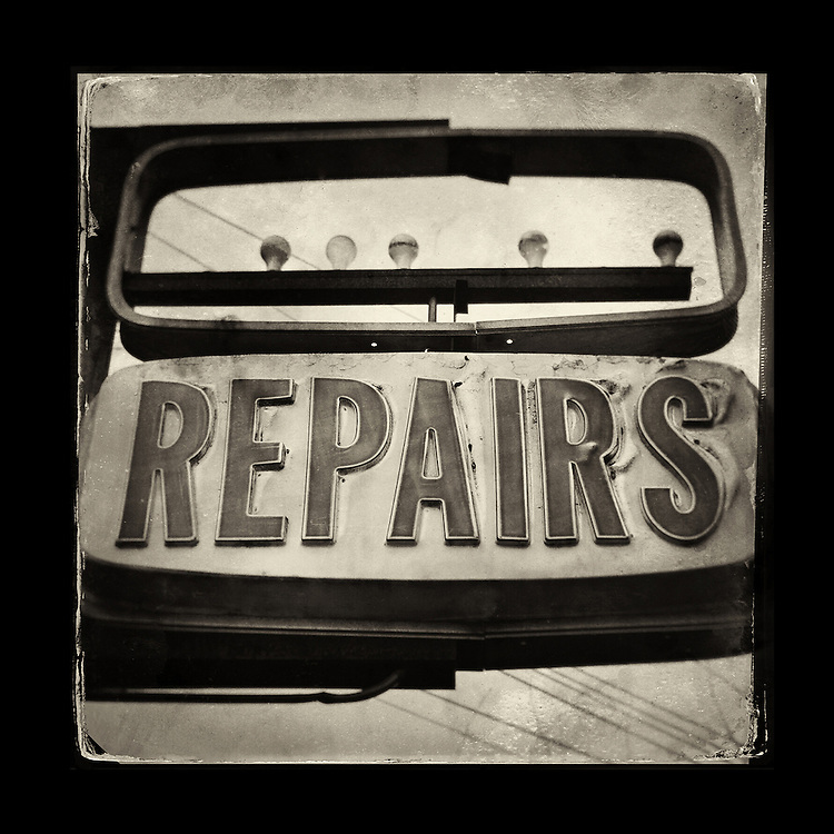 "Charles Blackburn Instagram image of a broken repairs sign in Washington state. 5x5"" print."