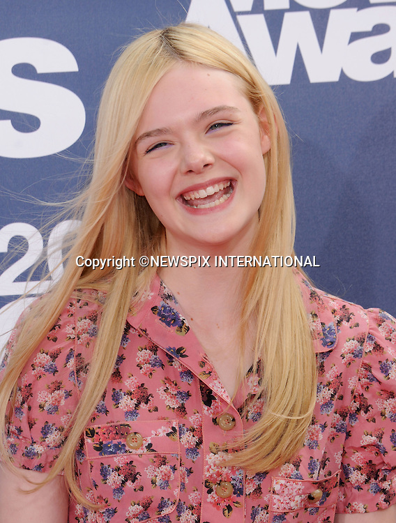 "ELLE FANNING.attends the 2011 MTV Movie Awards at the Gibson Amphitheatre on June 5, 2011 in Universal City, California.Mandatory Photo Credit: ©Crosby/Newspix International. .**ALL FEES PAYABLE TO: ""NEWSPIX INTERNATIONAL""**..PHOTO CREDIT MANDATORY!!: NEWSPIX INTERNATIONAL(Failure to credit will incur a surcharge of 100% of reproduction fees)..IMMEDIATE CONFIRMATION OF USAGE REQUIRED:.Newspix International, 31 Chinnery Hill, Bishop's Stortford, ENGLAND CM23 3PS.Tel:+441279 324672  ; Fax: +441279656877.Mobile:  0777568 1153.e-mail: info@newspixinternational.co.uk"