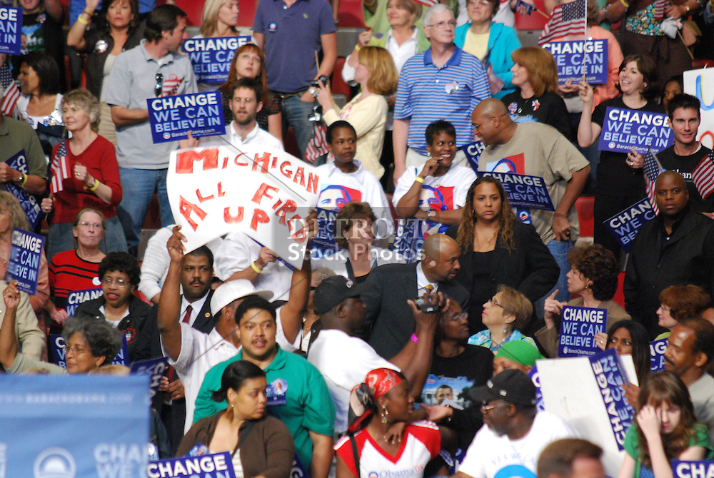 Supporters of Barack Obama packed Joe Louis Arena in Detroit, MI on Monday, June 16, 2008. Campaign signs, cheering and support all for Democratic Presidential nominee Barack Obama.
