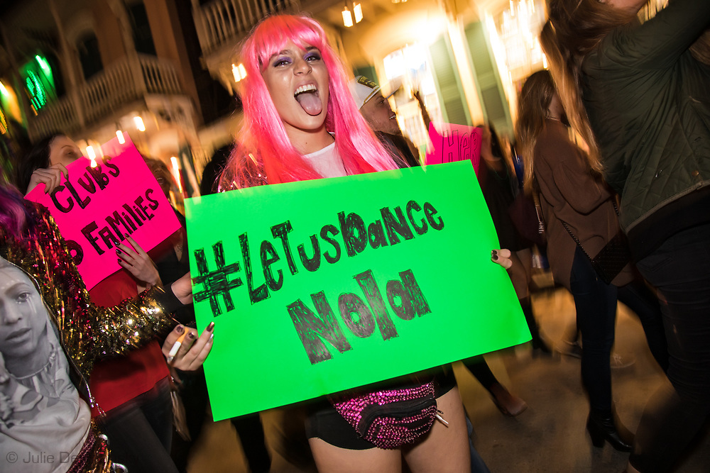 Febuary 1, 2018 New Orleans: Hundreds of Strip-club dancers, co-workers and supporters marched on Bourbon St  and around New Orleans French Quarter protesting the closure of several clubs. <br /> The city alleges officers found illegeal acitivsty in some of the clubs, though no arrests were made.  <br /> Responding to the dancers critism that no one was arrested at the clubs and that the raids were done to try to shut the clubs down for good and Disnfying  the French Quarter, Police Chief Michael Harrison stated that its undercover opperations resulted in taking some pimps off the streets, though did not list the names of those arrested.