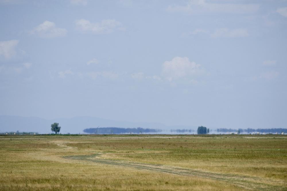 Hortobagy landscape with mirage (fata morgana), Hortobagy National Park, Hungary