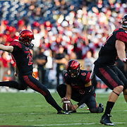 02 September 2017: San Diego State Aztecs place kicker John Baron II #29 makes a 39 yard field goal attempt in th first quarter to give the Aztecs a 3-0 lead. The Aztecs lead the Aggies 24-3 at the half at Qualcomm Stadium in San Diego, California. <br /> www.sdsuaztecphotos.com