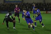 AFC Wimbledon midfielder Jake Reeves (8) and AFC Wimbledon striker Andy Barcham (17) during the The Emirates FA Cup 1st Round Replay match between AFC Wimbledon and Bury at the Cherry Red Records Stadium, Kingston, England on 15 November 2016. Photo by Stuart Butcher.