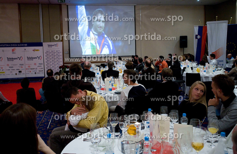 Watching the movie of Primoz Kozmus at Best Slovenian athlete of the year ceremony, on November 15, 2008 in Hotel Lev, Ljubljana, Slovenia. (Photo by Vid Ponikvar / Sportida)