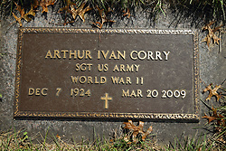31 August 2017:   Veterans graves in Dawson Cemetery in eastern McLean County.<br /> <br /> Arthur Ivan Corry  Sergeant US Army  World War II  Dec 7 1924   Mar 20 2009