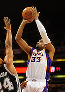 Nov. 3 2010; Phoenix, AZ, USA; Phoenix Suns forward Grant Hill (33) puts up a basket during the first half against San Antonio Spurs forward Richard Jefferson (24) at the US Airways Center. The Spurs defeated the Suns 112-110.   Mandatory Credit: Jennifer Stewart-US PRESSWIRE.