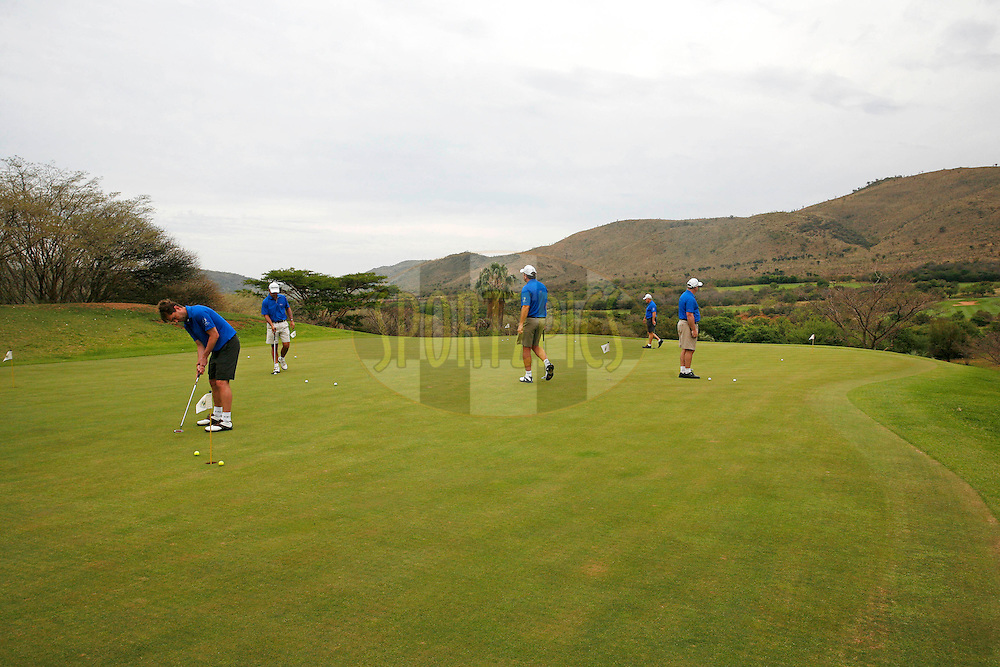 Delegates practice their putting on the putting green shortly before their tee off time during the 2nd round of the delegates competition held as part of the Sanlam Cancer Challenge Finals 2012 held at The Lost City Golf Course at Sun City on the 23rd October 2012...Photo by Mark Wessels/SPORTZPICS