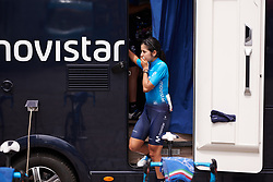 Paula Patino Bedoya (COL) emerges from the team camper at Lotto Thüringen Ladies Tour 2019 - Stage 4, a 114.8 km road race in Gotha, Germany on May 31, 2019. Photo by Sean Robinson/velofocus.com