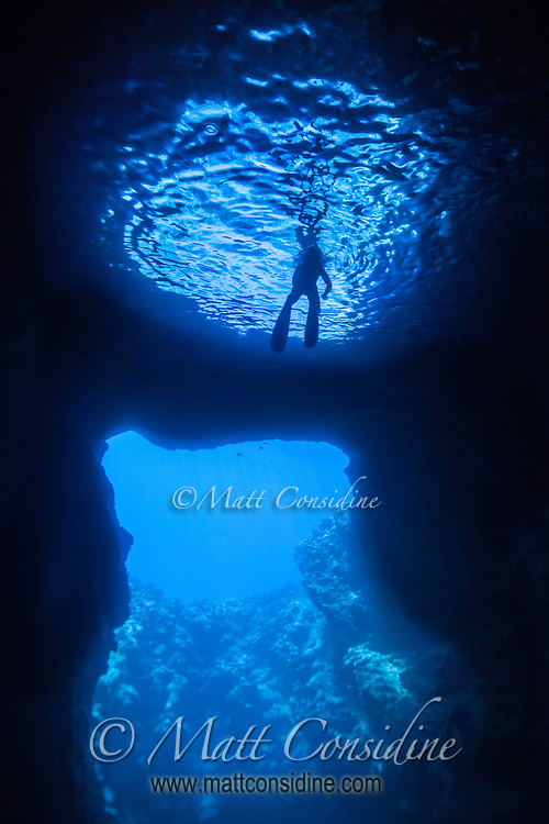The entrance to the cave is bwlow the surface of the water so the only light that gets into the cave is through this entrance.