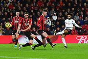 Mohamed Salah (11) of Liverpool shoots at goal during the Premier League match between Bournemouth and Liverpool at the Vitality Stadium, Bournemouth, England on 7 December 2019.