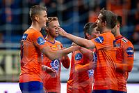1. divisjon fotball 2018: Aalesund - Tromsdalen. Aalesunds Holmbert Fridjonsson (t.v.) feirer 3-0 i førstedivisjonskampen i fotball mellom Aalesund og Tromsdalen på Color Line Stadion.