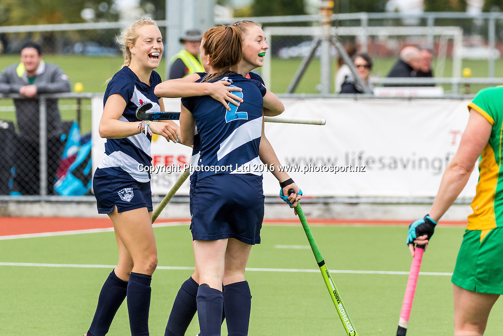 Auckland's Madison Doar scores and celebrates with Anna Wetherall. Auckland v Central Women, FORD National Hockey League, ITM Hockey Centre, Whangarei, New Zealand. Friday 16 September, 2016. Copyright photo: Heath Johnson / www.photosport.nz