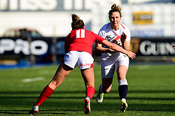 Sarah McKenna of England Women is marked by Jess Kavanagh of Wales Women - Mandatory by-line: Ryan Hiscott/JMP - 24/02/2019 - RUGBY - Cardiff Arms Park - Cardiff, Wales - Wales Women v England Women - Women's Six Nations