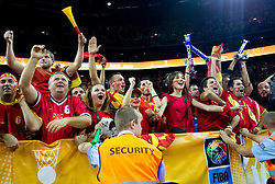 Fans of Macedonia during basketball game between National basketball teams of F.Y.R. of Macedonia and Russia of 3rd place game of FIBA Europe Eurobasket Lithuania 2011, on September 18, 2011, in Arena Zalgirio, Kaunas, Lithuania. Russia defeated Macedonia 72-68 and won bronze medal. (Photo by Vid Ponikvar / Sportida)