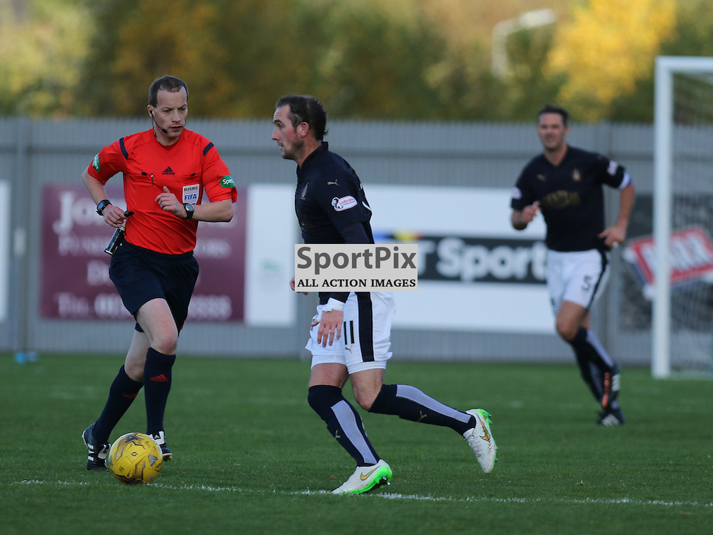 Mark Kerr is unchallanged in midfield during the Dumbarton FC  v Falkirk FC Scottish Championship 24 October 2015 <br /> <br /> (c) Andy Scott | SportPix.org.uk