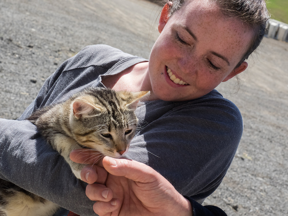 Ashley adopts the cat at Pacheco Ranch