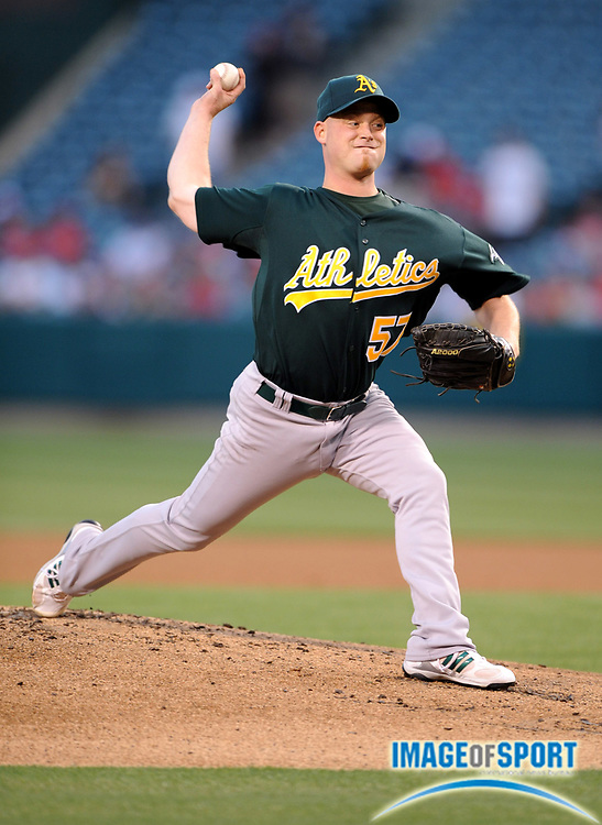 Apr 28, 2007; Anaheim, CA, USA; Oakland Athletics starter Chad Gaudin (57) pitches in the first inning against the Los Angeles Angels at Angel Stadium. Mandatory Credit: Kirby Lee/Image of Sport-US PRESSWIRE