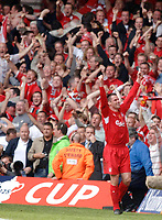 Photo: Daniel Hambury.<br />Liverpool v West Ham United. The FA Cup Final. 13/05/2006.<br />Liverpool's Jamie Carragher celebrates as his side make it 3-3.