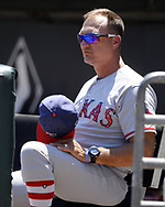 CHICAGO - JULY 02:  Manager Jeff Banister #28 of the Texas Rangers looks on against the Chicago White Sox on July 2, 2017 at Guaranteed Rate Field in Chicago, Illinois.  The White Sox defeated the Rangers 6-5.  (Photo by Ron Vesely) Subject:   Jeff Banister
