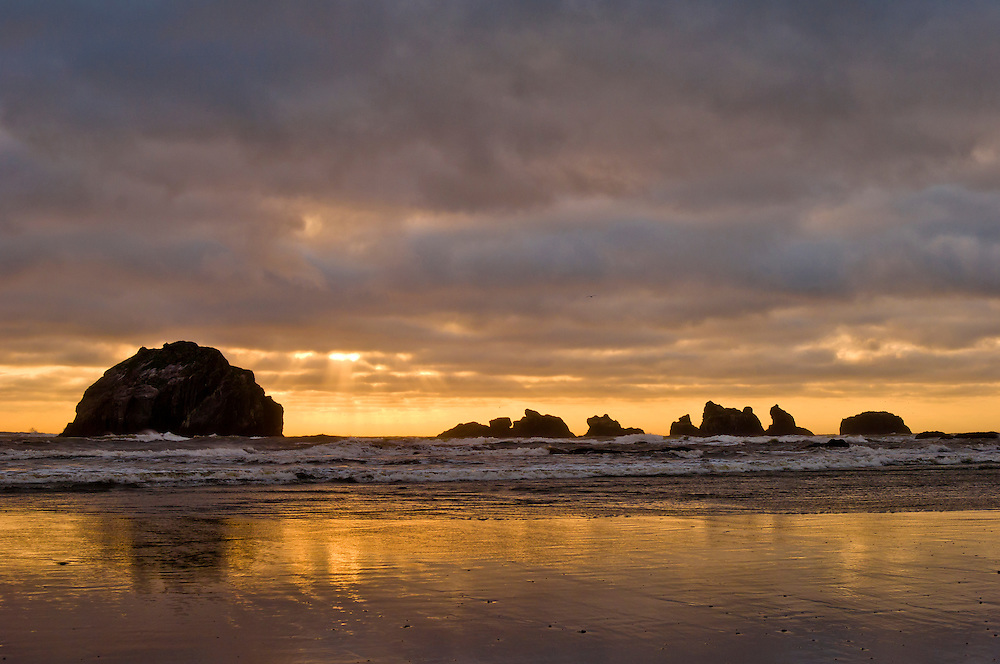 Face Rock and stormy sunset, Bandon Beach, southern Oregon coast.
