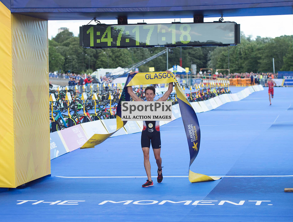 Pierre Le Corre of France wins the Men's Elite Standard Race, ETU Triathlon,  European Championships, Strathclyde Park, Motherwell Scotland, Friday 10 August 2018, (c) Angie Isac | SportPix.org.uk