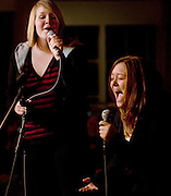 "Katy Taylor, left and Sarah Richards sing ""A Whole New World"" during  Karaoke in the Front Room at Baker Center during Sibs Fest. The event, which featured a magician, games, karaoke, and etc., was organized by the UPC (University Program Council)."