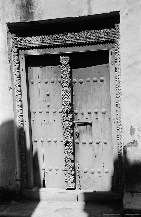 Wood Cleaned for Shipment, Carved Arab Doorways, Mombasa, Kenya, Africa, 1937