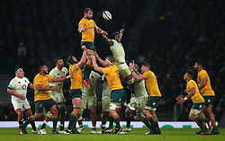 Ben McCalman of Australia catches the ball from a line out - Mandatory by-line: Robbie Stephenson/JMP - 18/11/2017 - RUGBY - Twickenham Stadium - London, England - England v Australia - Old Mutual Wealth Series