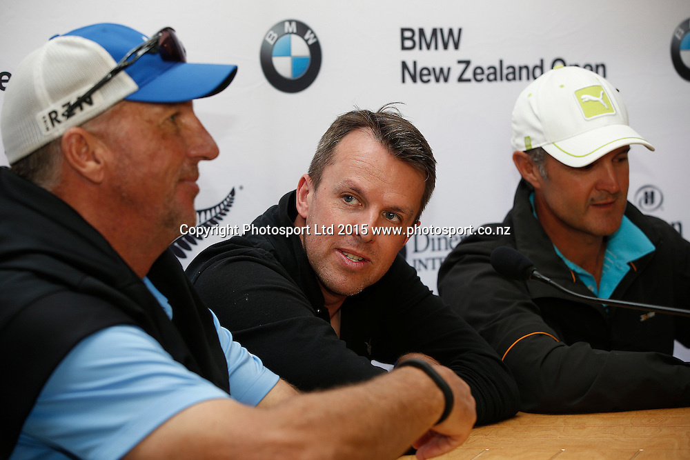 Sir Ian Botham, Graeme Swann and Nathan Astle at the celebrity photocall, The Hills, Arrowtown, New Zealand ahead of the 2015 BMW New Zealand Golf Open. 11 March 2015. Copyright Photo: Michael Thomas / www.photosport.co.nz