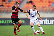 SYDNEY, NSW - FEBRUARY 24: Perth Glory defender Shane Lowry (4) tries to keep the ball away from Western Sydney Wanderers forward Oriol Riera (9) at round 20 of the Hyundai A-League Soccer between Western Sydney Wanderers FC and Perth Glory on February 24, 2019 at Spotless Stadium, NSW. (Photo by Speed Media/Icon Sportswire)