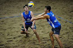 07-01-2011 VOLLEYBAL:  CEV SATELLITE INDOOR BEACHVOLLEYBALL: AALSMEER<br /> The first CEV Indoor beachvolleyball tounament / Thomas Kaczmarek GER and Malte Stiel<br /> ©2011-WWW.FOTOHOOGENDOORN.NL