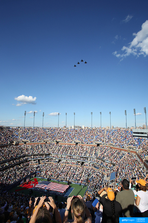 The military flypast of Arthur Ashe Stadium before the Serena Williams, USA, against  Victoria Azarenka, Belarus, in the Women's SIngles Final during the US Open Tennis Tournament, Flushing, New York. USA. 9th September 2012. Photo Tim Clayton