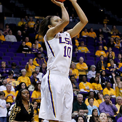 February 5, 2011; Baton Rouge, LA; LSU Lady Tigers guard Adrienne Webb (10) shoots against the Kentucky Wildcats during the second half of a game at the Pete Maravich Assembly Center. LSU defeated Kentucky 61-51.  Mandatory Credit: Derick E. Hingle-US PRESSWIRE