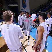 Delaware 87ers Forward Victor Rudd (23) is introduced to the fans prior the start of the start of the first half of a NBA D-league regular season basketball game between the Delaware 87ers and the Erie BayHawk (Orlando Magic) Friday, Mar. 27, 2015 at The Bob Carpenter Sports Convocation Center in Newark, DEL.